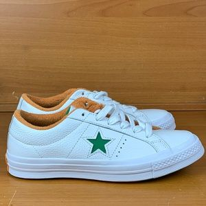 Converse One Star Ox White Green Tangelo Leather